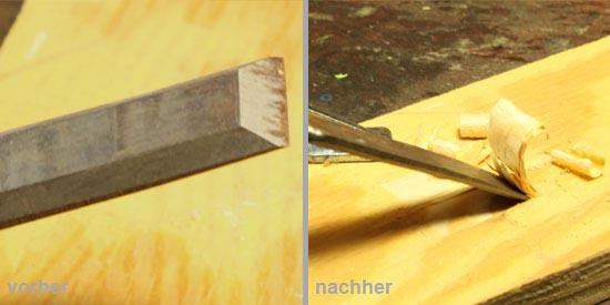 Stecheisen - Vorher/Nachher Vergleich