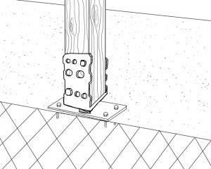 Skizze eines aufgedübelten Pfostenträgers