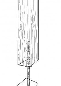 Skizze eines gebohrten Pfostenträgers