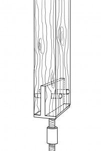 Skizze eines geschlitzten Pfostenträgers