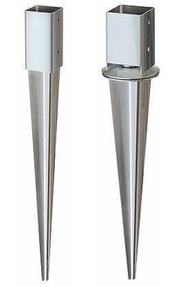 Links: Herkömmliche Einschlagbodenhülse Rechts: Verstellbare Einschlagbodenhülse
