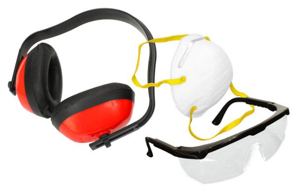 Gehörschutz, Schutzbrille und Mundschutz