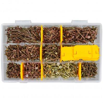 1370 tlg. Spanplattenschrauben Sortiment Senkkopf gelb TX 3x16 bis 4x30