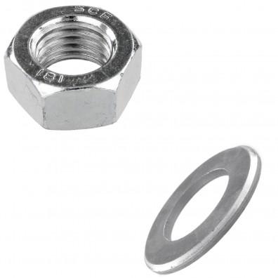 Muttern & Unterlegscheiben Set - galvanisch verzinkt - geeignet für Festigkeit 4.6, 5.6 & 8.8