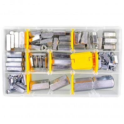 100 tlg Distanzmuttern Sortiment Sechskant galvanisch verzinkt 6x30 bis 20x50