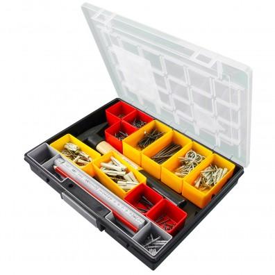 414 tlg. Heimwerker Sortiment mit verschiedenen Nägeln, Schrauben, Haken und Dübeln, sowie einem Hammer
