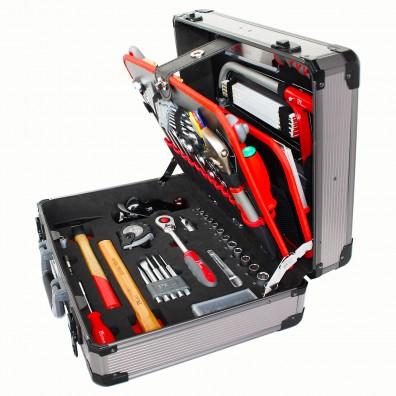 1 Werkzeugkoffer Woody 120 tlg, Alukoffer dunkel , Für Holzverarbeiter