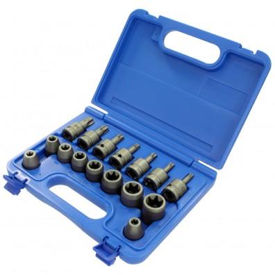 16 tlg. ASW Steckschlüssel Sortiment, E-Profil-Außen-Torx und Torx®