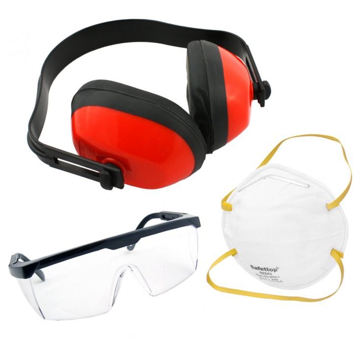 3tlg. Arbeitsschutz-Set bestehend aus Gehörschützer, Schutzbrille & Staubmaske