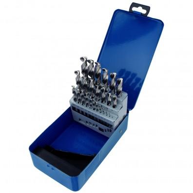 25 tlg Sortiment Spiralbohrer HSS-G geschliffen in Metallkassette 1mm - 13mm