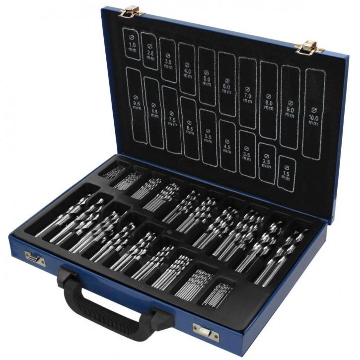 170 tlg Sortiment Spiralbohrer HSS-G geschliffen in Metallkassette 1mm - 10mm