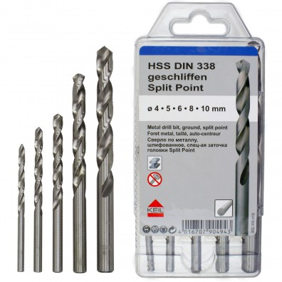 5 tlg. HSS DIN 338 Split Point-Set - KEIL - Ø = 4 - 5 - 6 - 8 - 10 mm