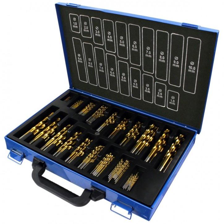 170 tlg. Spiralbohrer Sortiment HSS-TIN-Bohrer in Metallkassette 1-10 mm