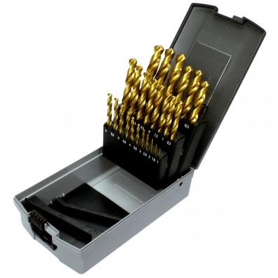 25 tlg Spiralbohrer Sortiment HSS-TIN-Bohrer in Roseplastik Box - 1-13 mm