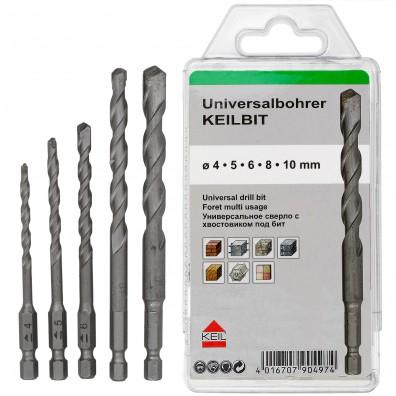 5 tlg. Universalbohrer-Set KEILBIT - KEIL - Ø = 4 - 5 - 6 - 8 - 10 mm