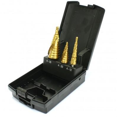 3 tlg Exact Stufenbohrer Sortiment mit Spiralnute HSS TIN 4-12 - 6-30mm