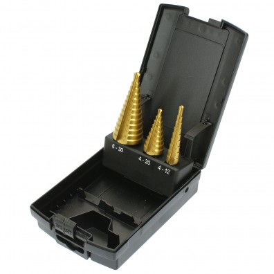 3 tlg Exact Stufenbohrer Sortiment geradegenutet HSS TIN 4-12 - 6-30mm