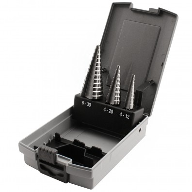 3 teiliges Sortiment Stufenbohrer HSS 4-12 mm bis 6-30 mm