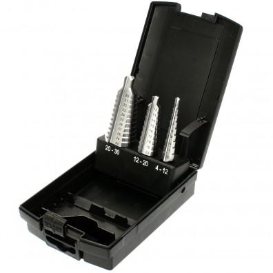 3 tlg Exact Stufenbohrer Sortiment geradegenutet HSS blank 4-12 - 20-30mm