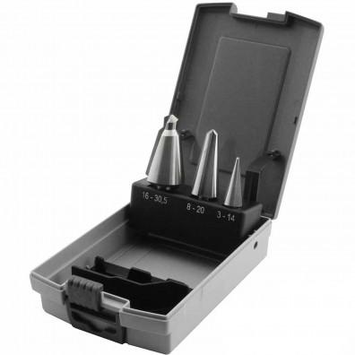 3 teiliges Sortiment Blechschälbohrer HSS in Kunststoffbox 4-12 mm bis 6-30 mm