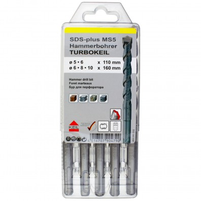5 tlg. SDS-plus MS5 Turbokeil-Set - KEIL - Ø = 5 - 6 - 6 - 8 - 10 mm