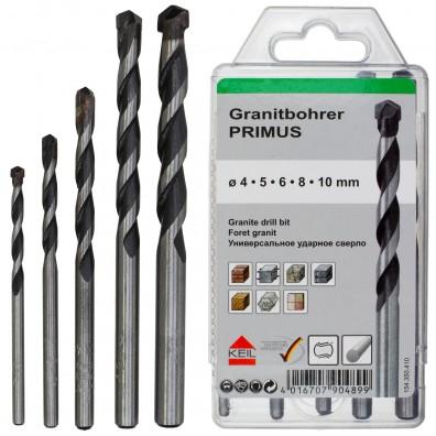 5 tlg. Granitbohrer-Set - KEIL - Ø = 4 - 5 - 6 - 8 - 10 mm