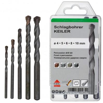 5 tlg. Schlagbohrer-Set - KEIL - Ø = 4 - 5 - 6 - 8 - 10 mm