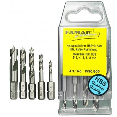 5 tlg FAMAG Bit-Holzspiralbohrersatz HSS-G, kurz,  3,4,5,6,8 mm