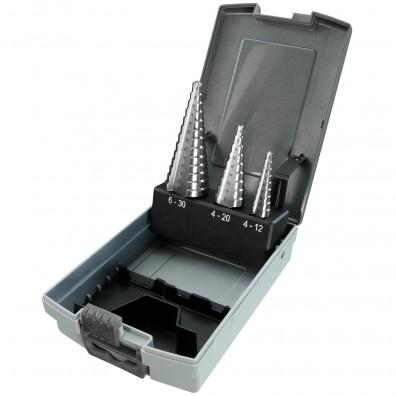 3 teiliges Stufenbohrer Sortiment HSS-Co - 4-12 mm - 4-20 mm - 6-30 mm