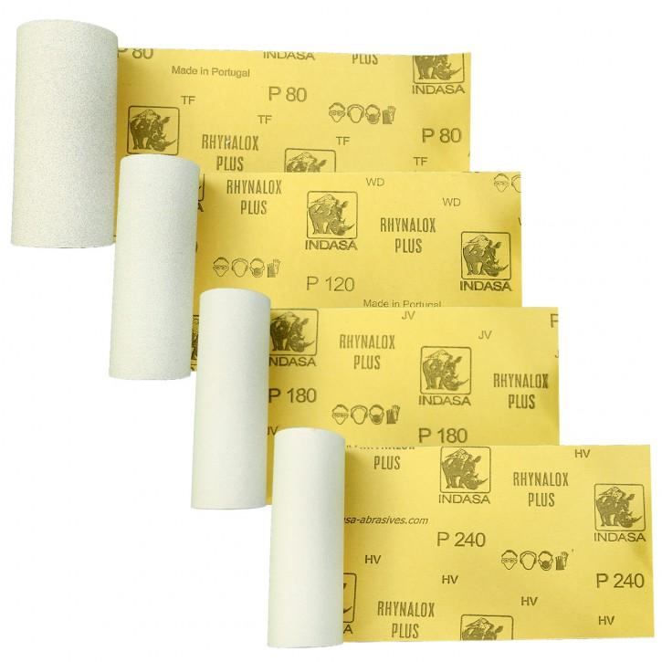 Schleifpapier Set - 4 x 2m - Körnungen: P80 P120 P180 P240 - Industrieware
