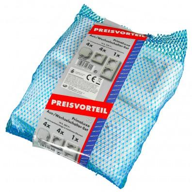 1 Sortiment Primaluxe 4x Aus-Wechselschalter,weiß , mit verschiedenen Rahmen