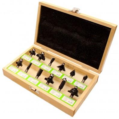 12 tlg. Fräser Sortiment mit 8 mm Schaft in einer Holzkassette