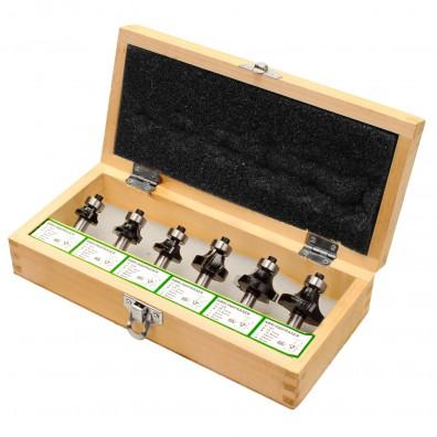 6tlg. Abrundfräser Set, Radien: 3 - 4 - 5 - 6 - 8 - 10 mm - Ø Schaft = 8 mm