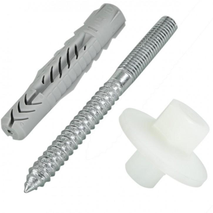 6 tlg. FISCHER Waschtisch- und Urinalbefestigung WD mit Universaldübel UX 10, Schrauben 8 x 90 mm und Bundmuttern