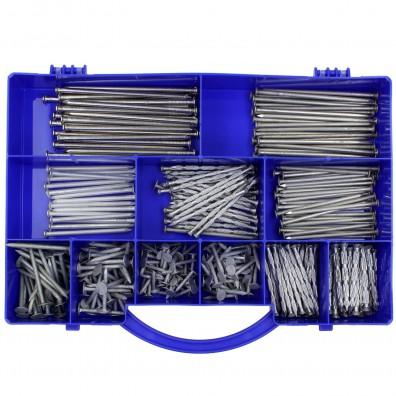 1 Drahtstifte-Sortiment - Nagelsortiment - Ø = 2,2 bis 4,5 mm - ca. 320 Nägel