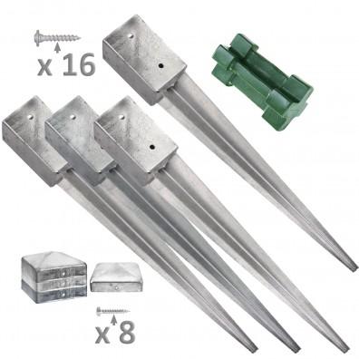 4 Einschlagbodenhülsen für 90mm Pfosten + Werkzeug, Pfostenkappen & Schrauben