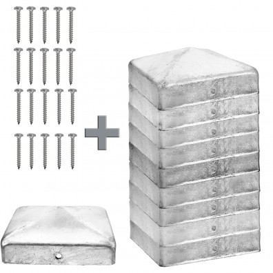 10 Edelstahlpfostenkappen für 90mm Pfosten inkl. Befestigungsmaterial