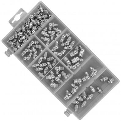 110 teiliges Schmiernippel Sortiment, M6 - M10, verzinkt