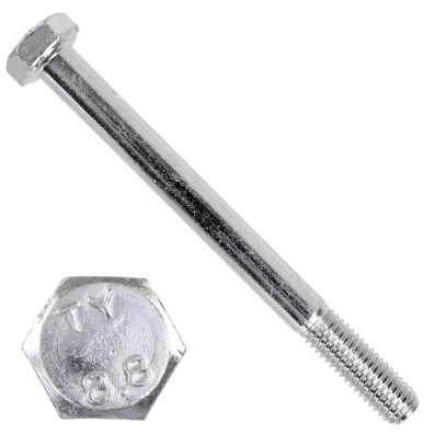 100 Sechskantschrauben DIN 931 - M8 x 90mm - verzinkt - Festigkeitsklasse 8.8