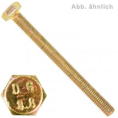 200 Sechskantschrauben M10 x 16 mm - DIN 933 - 8.8 gelb verzinkt