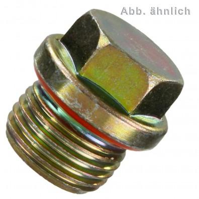50 Verschlussschrauben 1/2 Zoll - DIN 5586 - Form B - gelb verzinkt