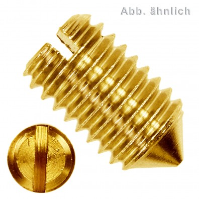 100 Gewindestifte mit Schlitz und Spitze M3 x 5 mm - DIN 553 - Messing