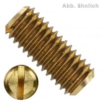 100 Gewindestifte mit Schlitz und Kegelkuppe M3 x 5 mm - DIN 551 - Messing