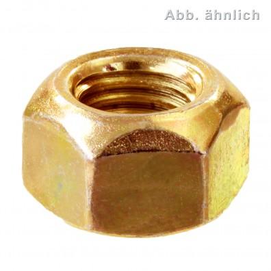 100 Sechskantmuttern M8 - Form V, mit Klemmteil - gelb verzinkt - DIN 980