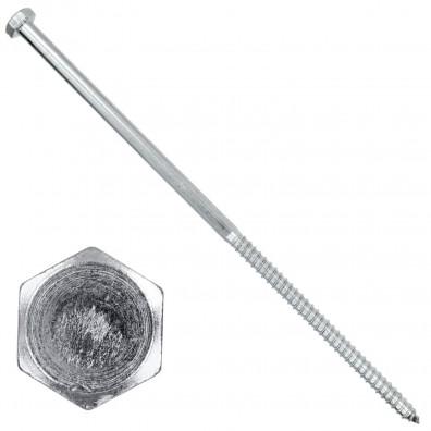 25 Schlüsselschrauben - Sechskant-Holzschrauben - 12x340 mm - DIN 571 - verzinkt