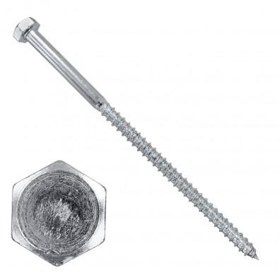 100 Schlüsselschrauben - Sechskant-Holzschrauben - 6x120 mm - DIN 571 - verzinkt