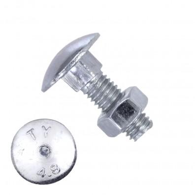 100 Schlossschrauben DIN 603 - M6 x 16mm - galvanisch verzinkt - inkl. Mutter