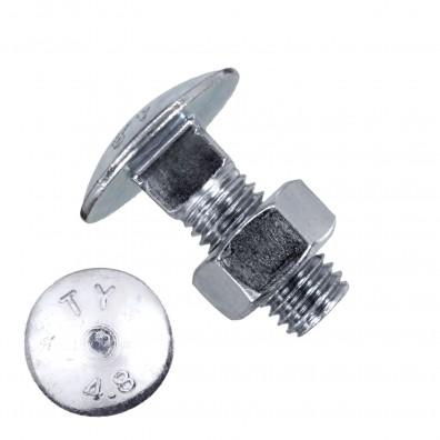 200 Schlossschrauben DIN 603 - M8 x 20mm - galvanisch verzinkt - inkl. Mutter