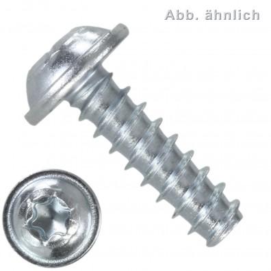 1000 Gewindefurchende Schrauben 3x10 mm, mit Scheibe, RSTplus, TX10, verzinkt
