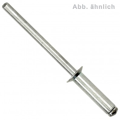 250 Blindnieten Stahl verzinkt  - 5 x 20 mm - Senkkopf - DIN 7337